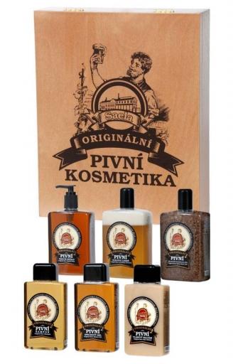 Ajándékcsomagolás – Sörös kozmetika (fából készült csomagolásban elhelyezett szett)